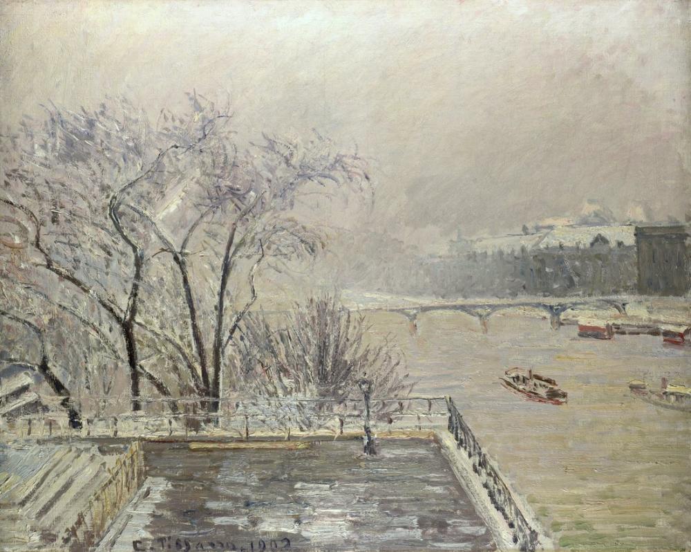 Camille Pissarro Kar Altındaki Louvre, Kanvas Tablo, Camille Pissarro, kanvas tablo, canvas print sales