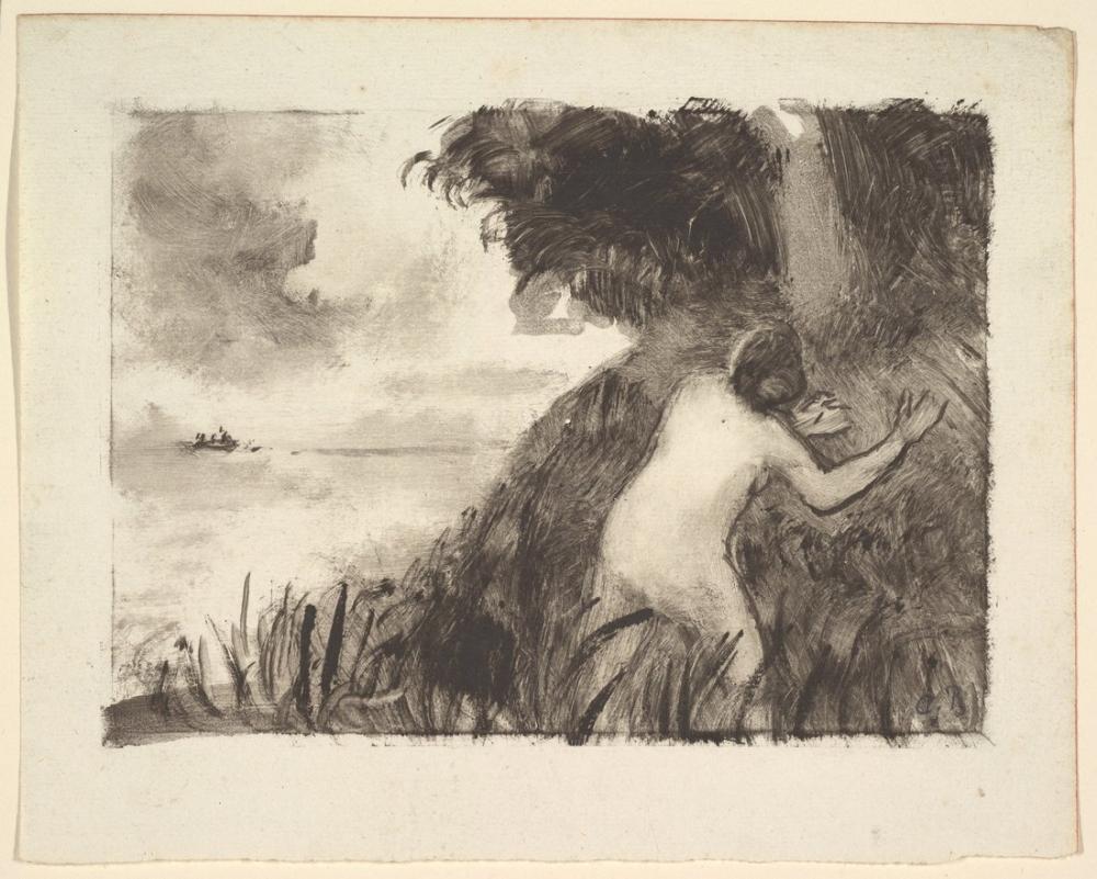 Camille Pissarro Sahildeki Otların Arasında Duran Yüzücü, Kanvas Tablo, Camille Pissarro