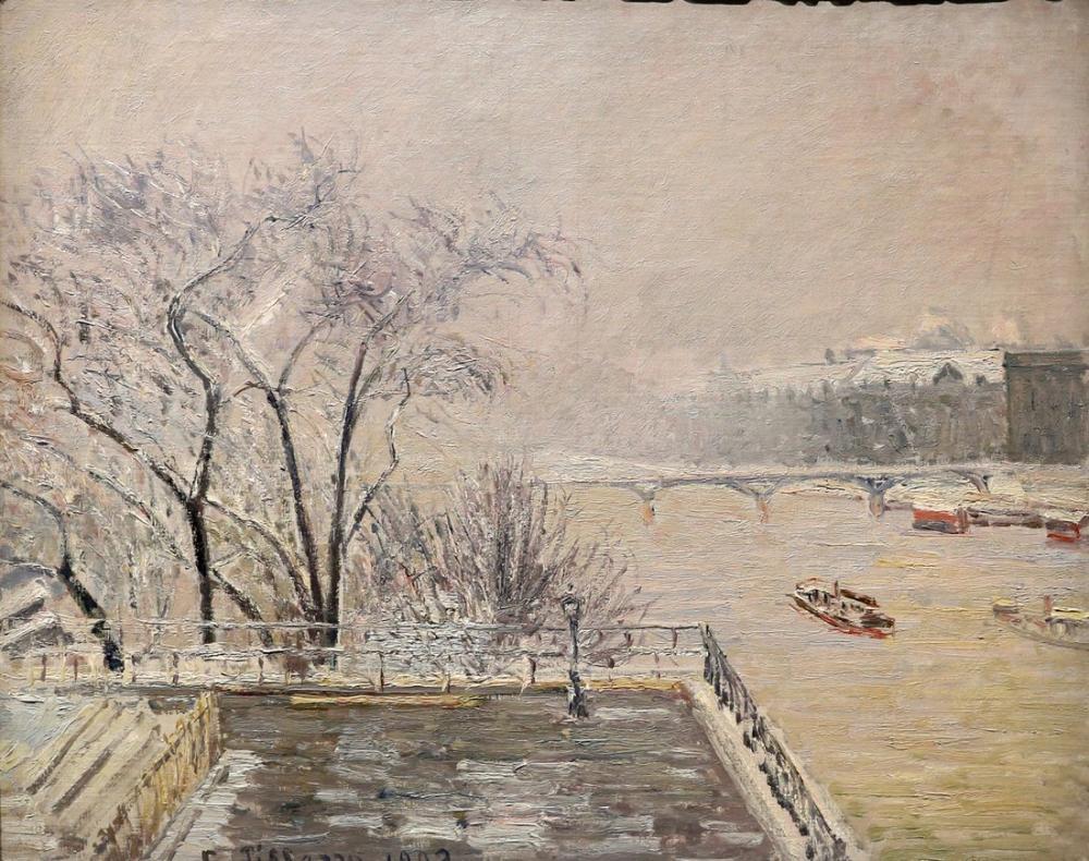 Camille Pissarro Louvre Kar Altında, Kanvas Tablo, Camille Pissarro, kanvas tablo, canvas print sales