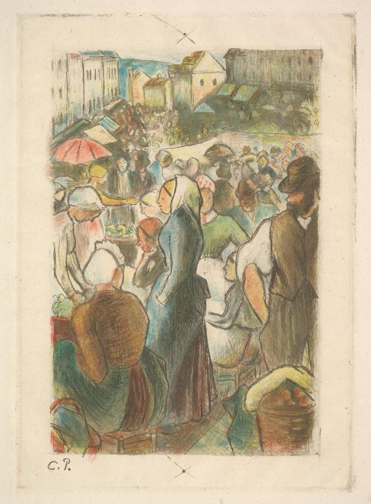 Camille Pissarro Pazar Gisors Rue Cappeville, Kanvas Tablo, Camille Pissarro, kanvas tablo, canvas print sales