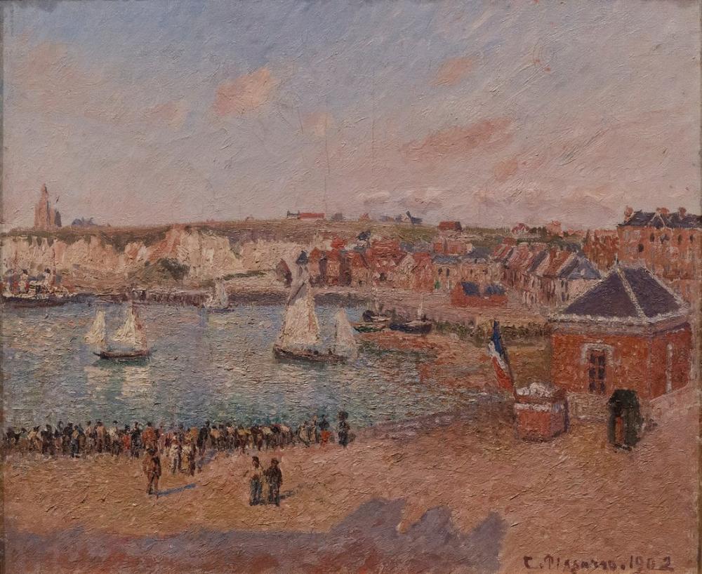 Camille Pissarro Dieppe Öncesi Liman Öğleden Sonra Güneşi, Kanvas Tablo, Camille Pissarro