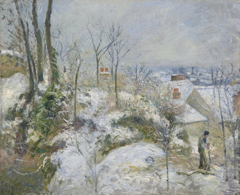Camille Pissarro The Rabbit Warren Cote Saint Denis At Pontoise Effect Of Snow, Canvas, Camille Pissarro, kanvas tablo, canvas print sales