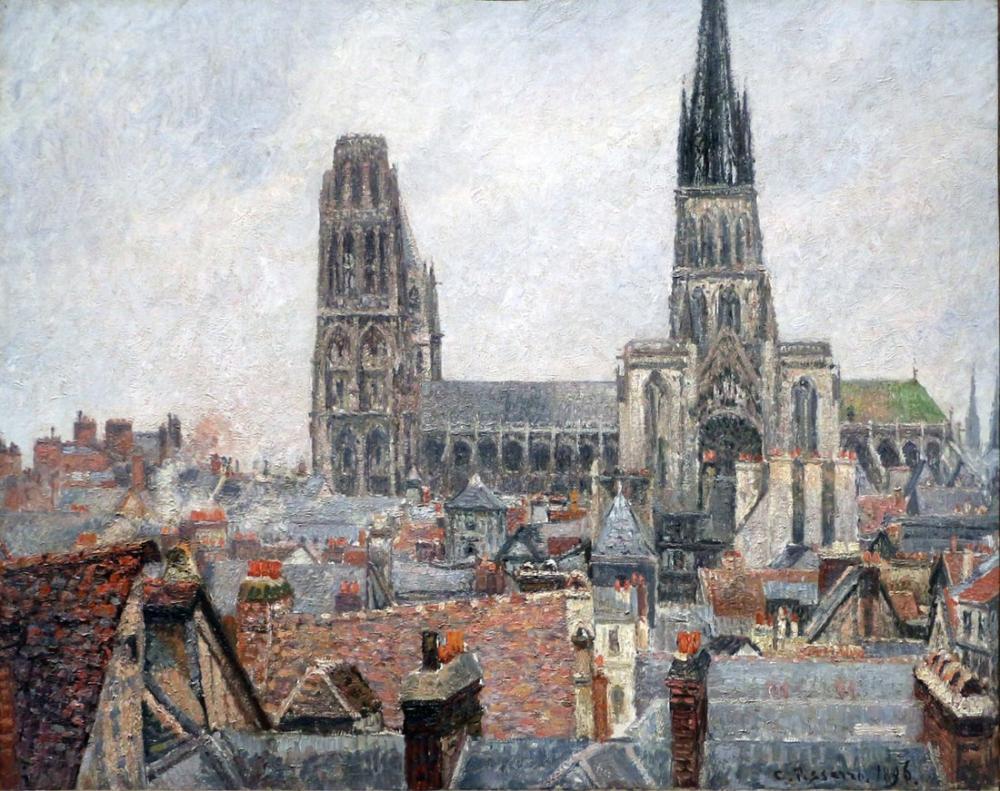 Camille Pissarro Eski Gri Zaman Rouen Çatıları, Kanvas Tablo, Camille Pissarro