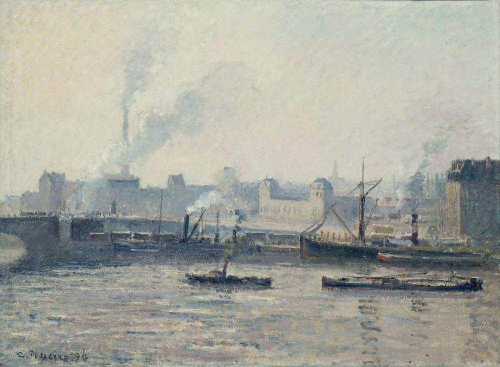 Camille Pissarro Saint Sever Köprüsü Rouen Mist, Kanvas Tablo, Camille Pissarro, kanvas tablo, canvas print sales