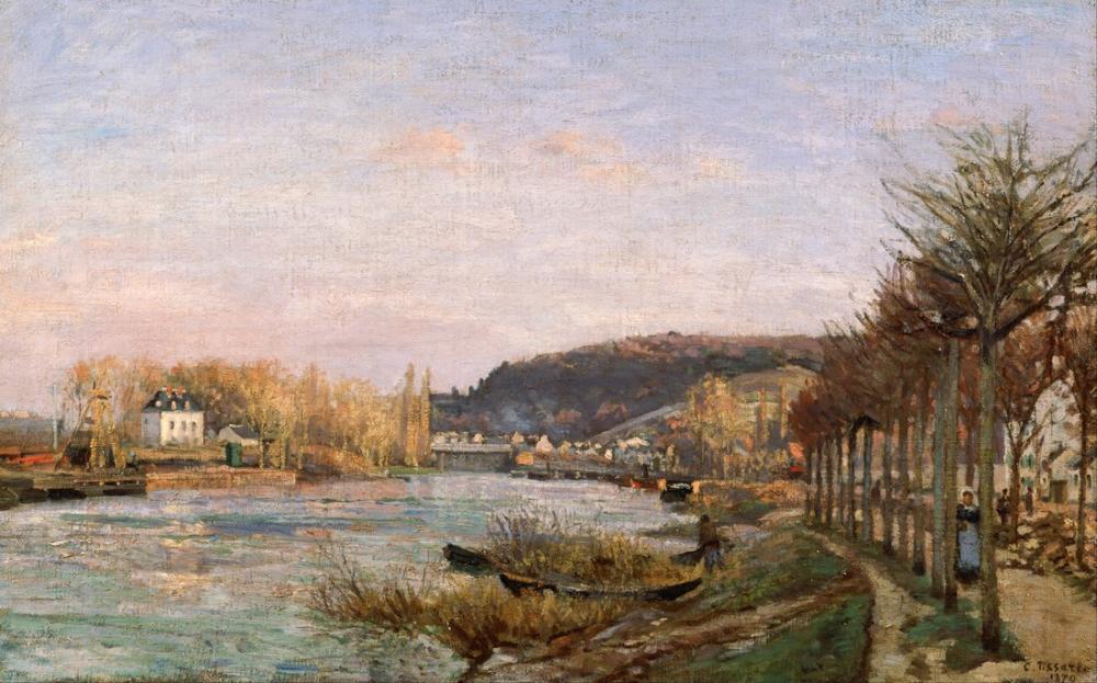 Camille Pissarro Seine Bougival, Kanvas Tablo, Camille Pissarro