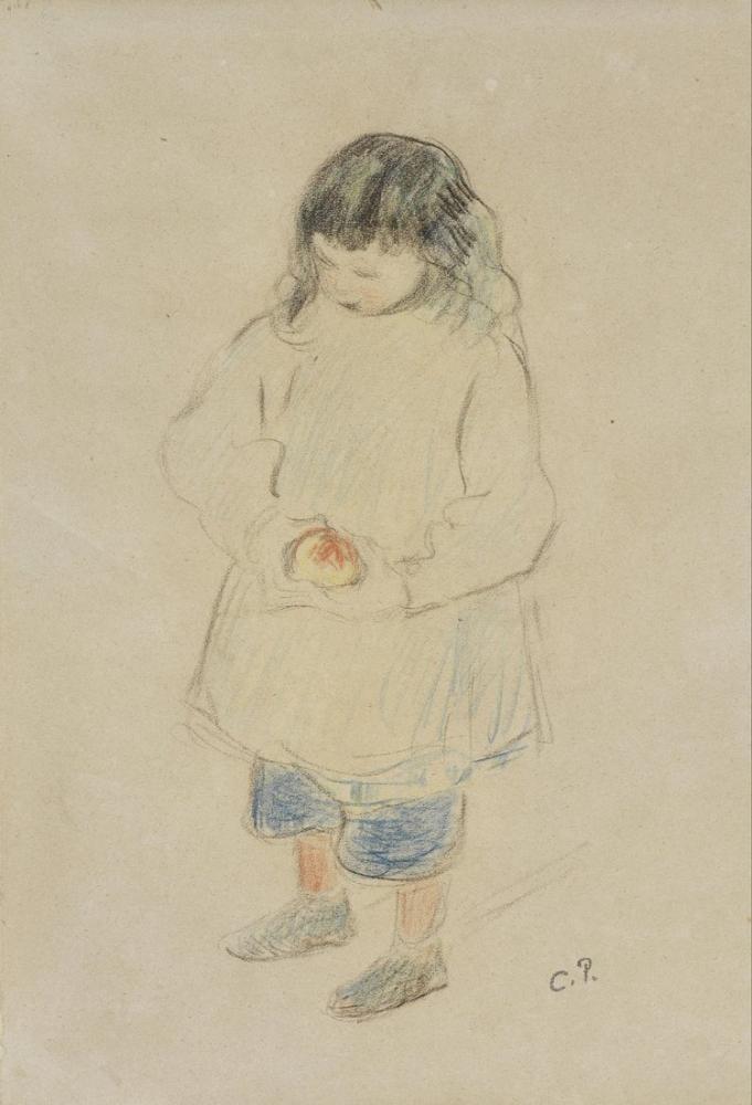 Camille Pissarro Elma Tutan Bonhams Fransız Çocuk, Kanvas Tablo, Camille Pissarro, kanvas tablo, canvas print sales
