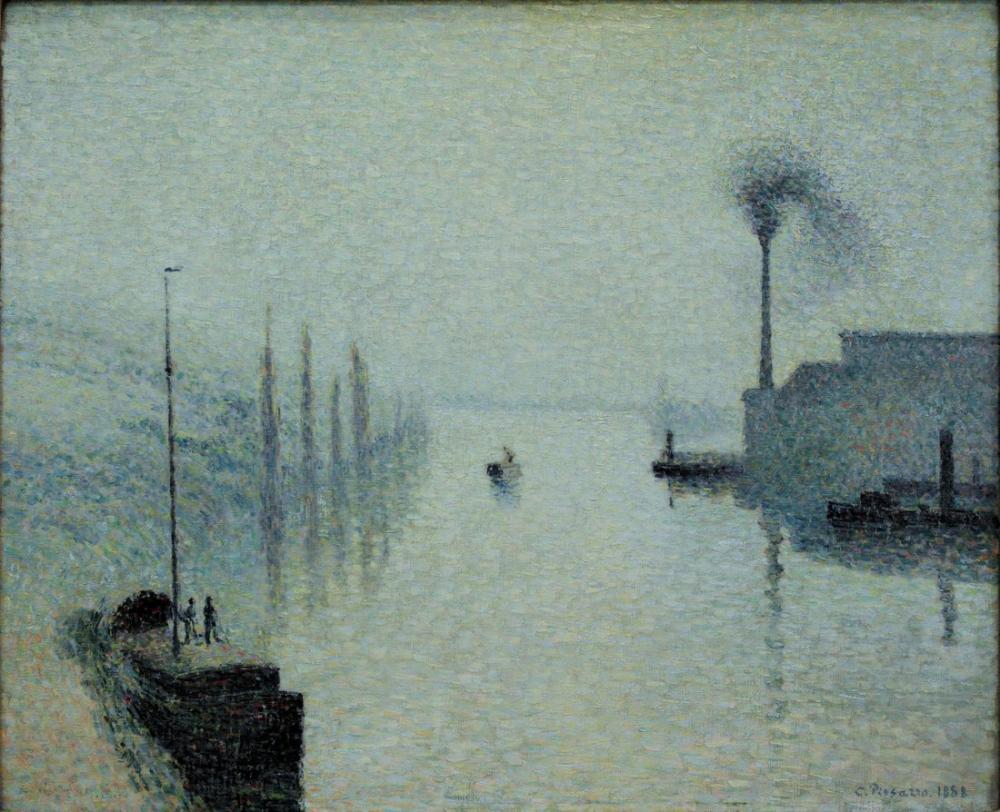 Camille Pissarro The Seine In Rouen Lacroix Island Fog Effect, Canvas, Camille Pissarro, kanvas tablo, canvas print sales