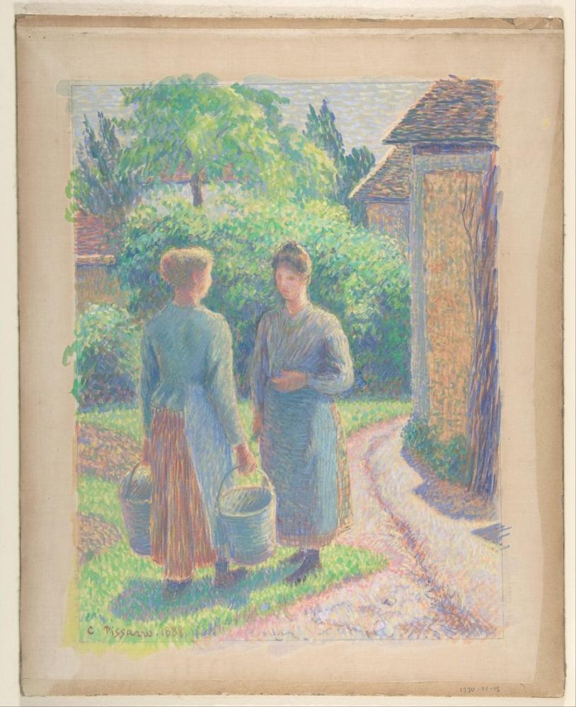 Camille Pissarro Bahçede İki Kadın, Kanvas Tablo, Camille Pissarro
