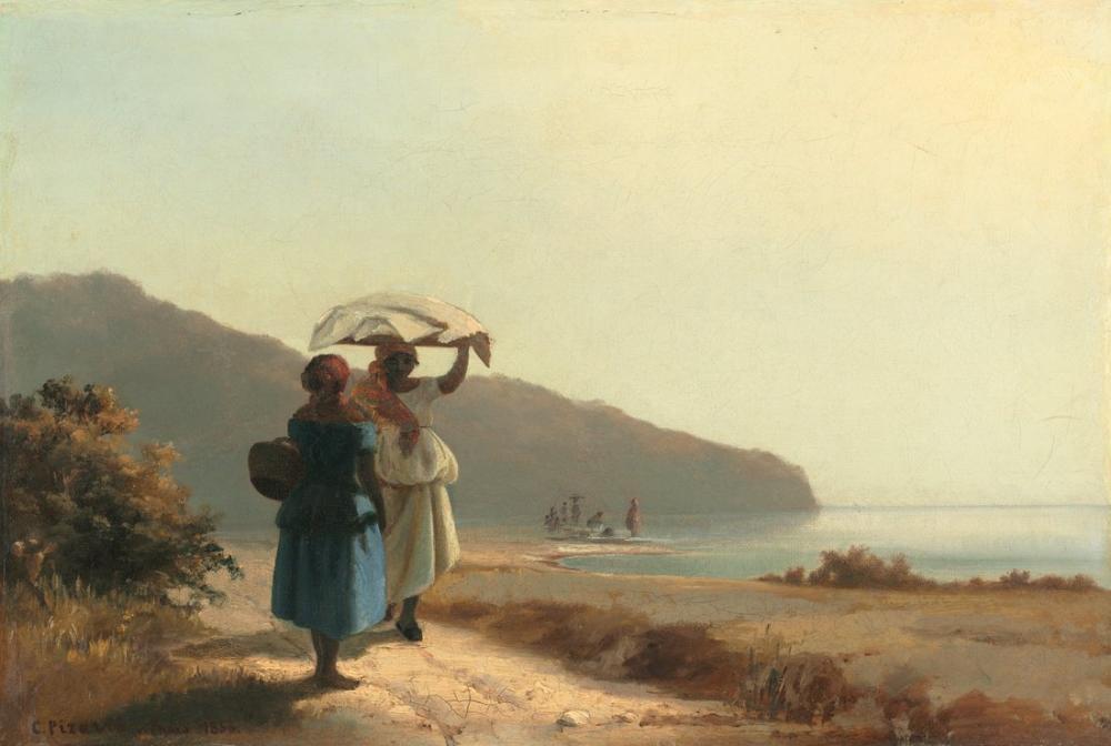 Camille Pissarro Deniz Kenarında Saint Thomas Konuşurken İki Kadın, Kanvas Tablo, Camille Pissarro
