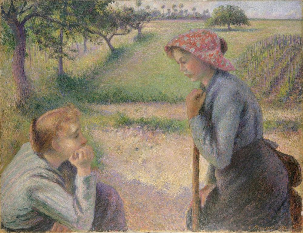 Camille Pissarro İki Genç Köylü Kadın, Kanvas Tablo, Camille Pissarro