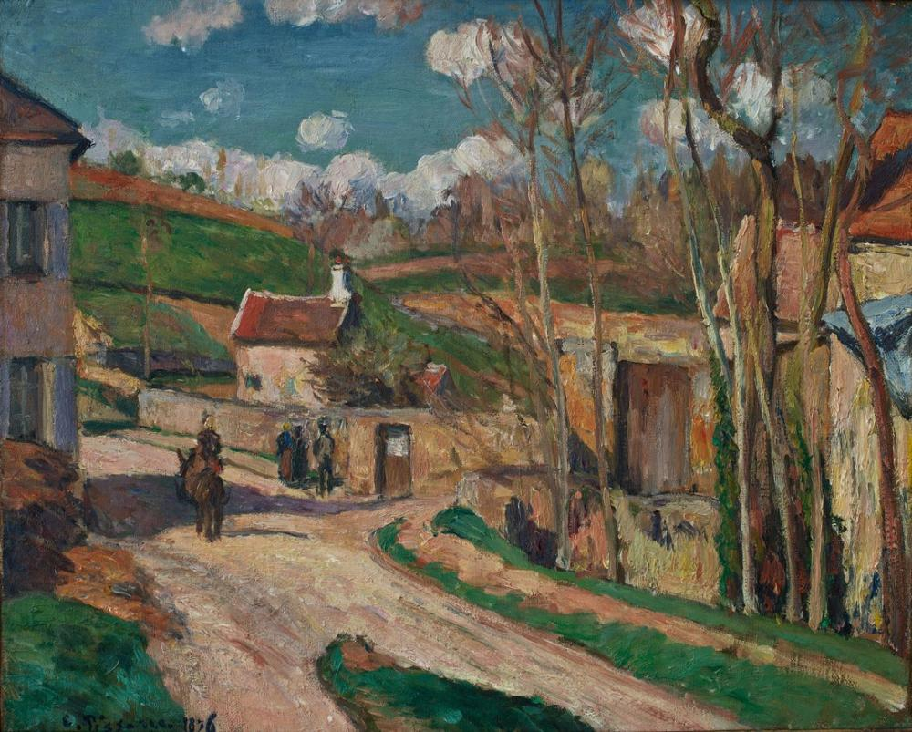 Camille Pissarro A Crossroads At The Hermitage Pontoise, Canvas, Camille Pissarro