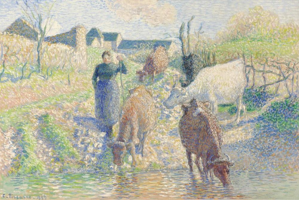 Camille Pissarro Sabrov İnekler Osny Creek, Kanvas Tablo, Camille Pissarro, kanvas tablo, canvas print sales