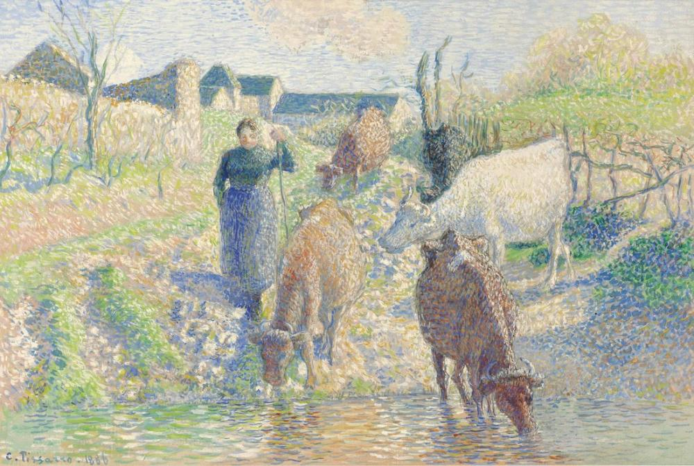 Camille Pissarro Sabrov İnekler Osny Creek, Kanvas Tablo, Camille Pissarro