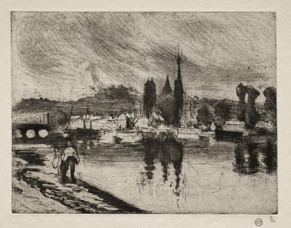 Camille Pissarro View Of Rouen, Canvas, Camille Pissarro, kanvas tablo, canvas print sales