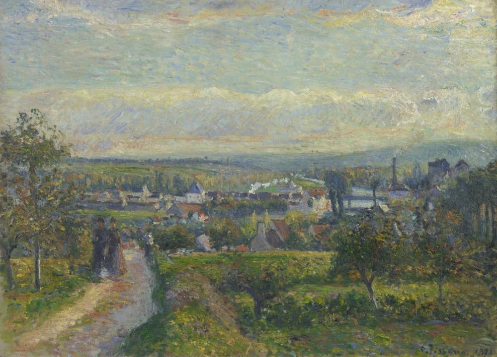 Camille Pissarro Saint Ouen lAumone Görünümünü, Kanvas Tablo, Camille Pissarro
