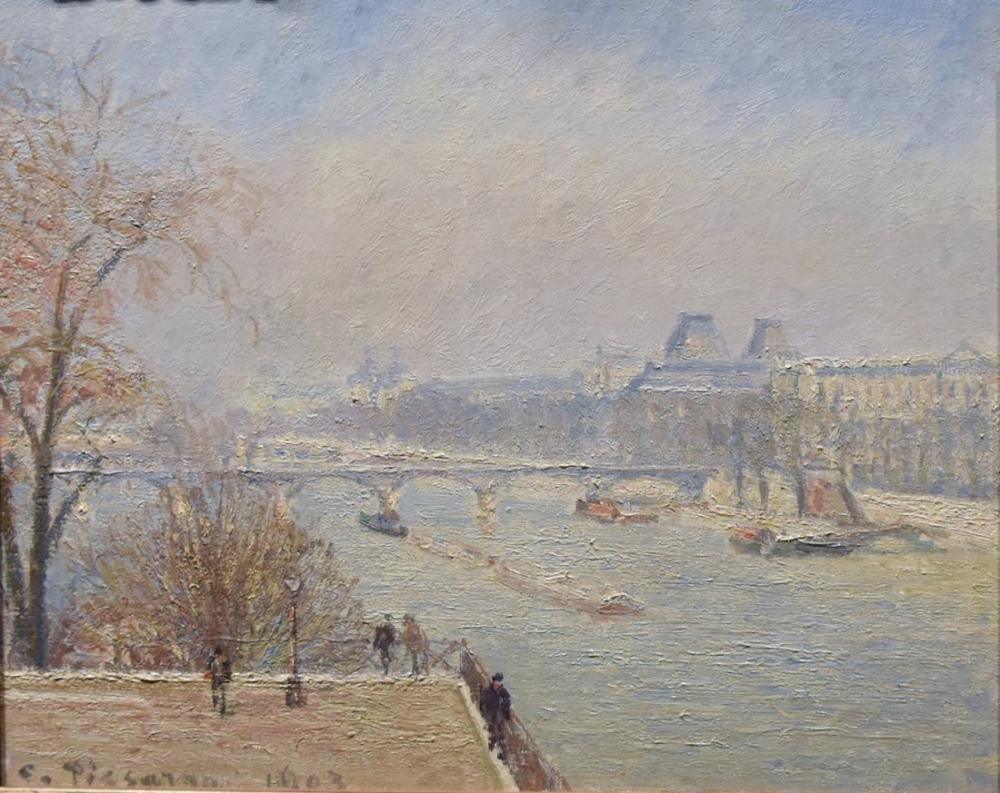 Camille Pissarro View Of The Seine From The Pont Neuf Bridge Towards The Louvre, Canvas, Camille Pissarro, kanvas tablo, canvas print sales