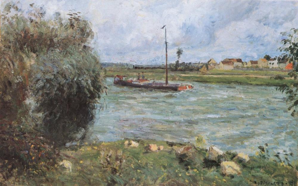 Camille Pissarro  Bords De l Oise A Pontoise, Canvas, Camille Pissarro