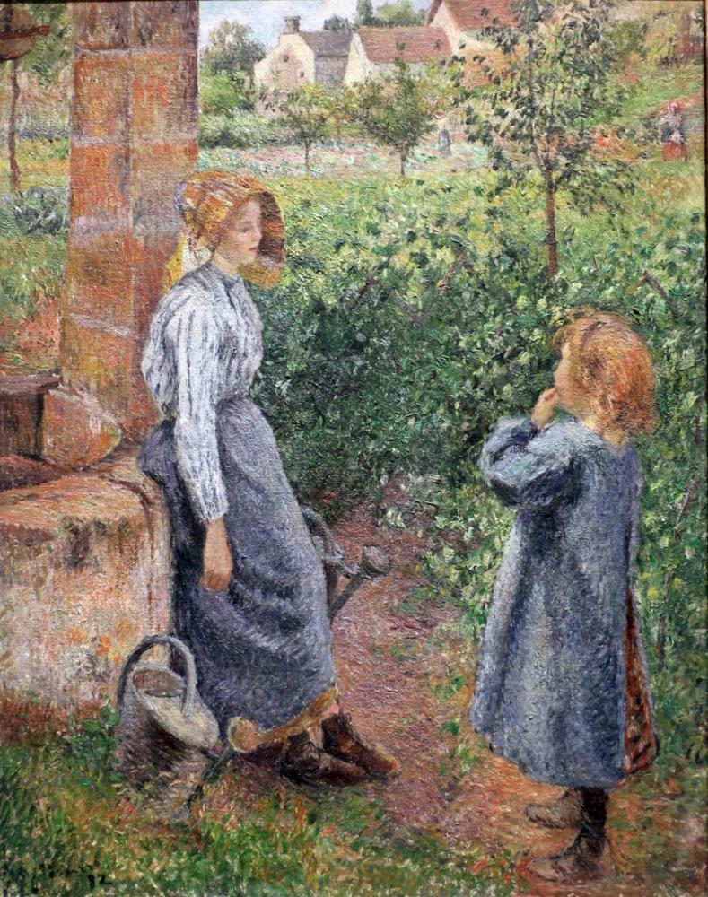 Camille Pissarro Kuyudaki Kadın Ve Çocuk, Kanvas Tablo, Camille Pissarro, kanvas tablo, canvas print sales