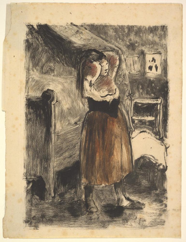 Camille Pissarro Saçını Düzenleyen Kadın, Kanvas Tablo, Camille Pissarro