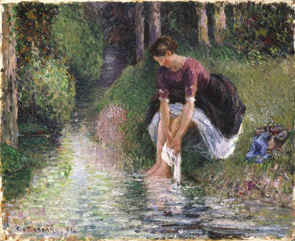 Camille Pissarro Kadın Ayakları Bir Dere Yıkama, Kanvas Tablo, Camille Pissarro, kanvas tablo, canvas print sales