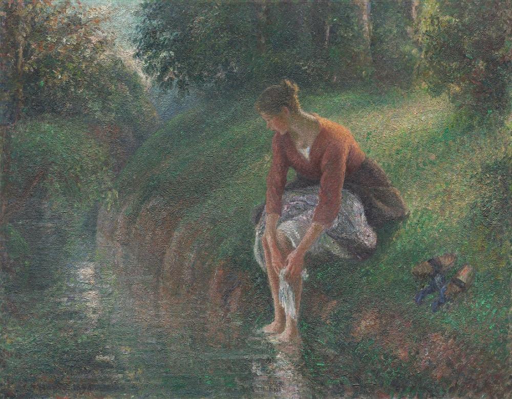 Camille Pissarro Kadın Ayaklarını Bir Dere Islatıyor, Kanvas Tablo, Camille Pissarro, kanvas tablo, canvas print sales