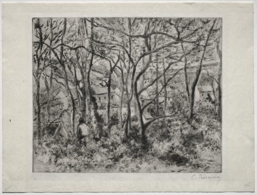 Camille Pissarro Ormanlık Manzara LHermitage Pontoise, Kanvas Tablo, Camille Pissarro, kanvas tablo, canvas print sales