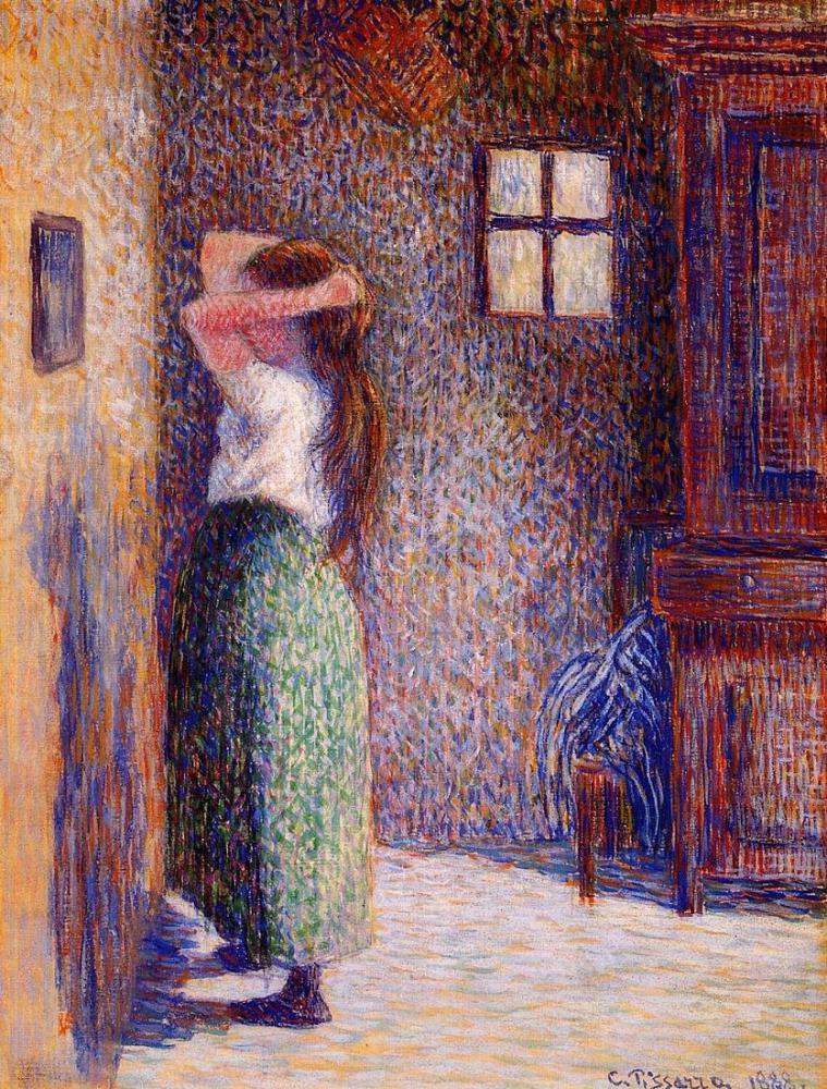 Camille Pissarro Onun Tuvalet De Genç Köylü, Kanvas Tablo, Camille Pissarro