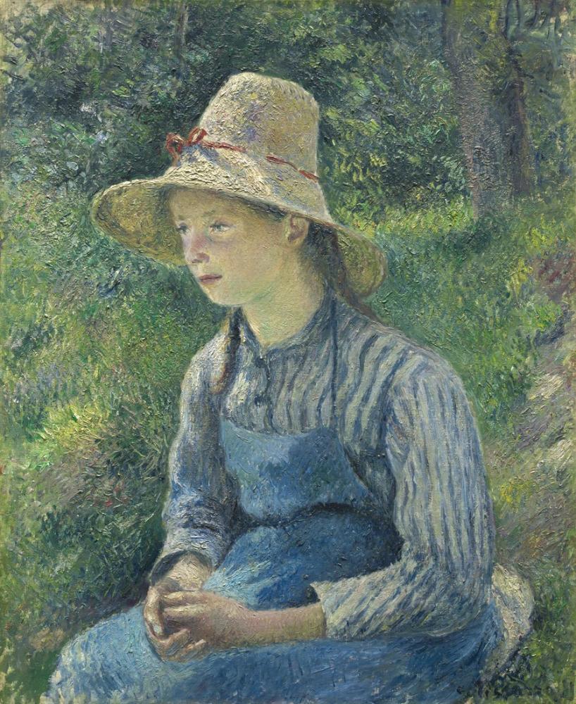 Camille Pissarro Hasır Şapka İle Genç Köylü Kızı, Kanvas Tablo, Camille Pissarro
