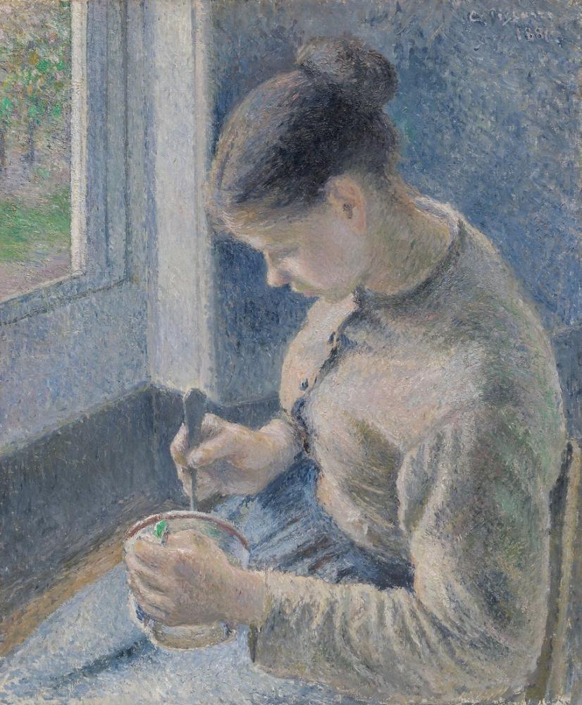 Camille Pissarro Genç Köylü Kahvesini Yiyor, Kanvas Tablo, Camille Pissarro