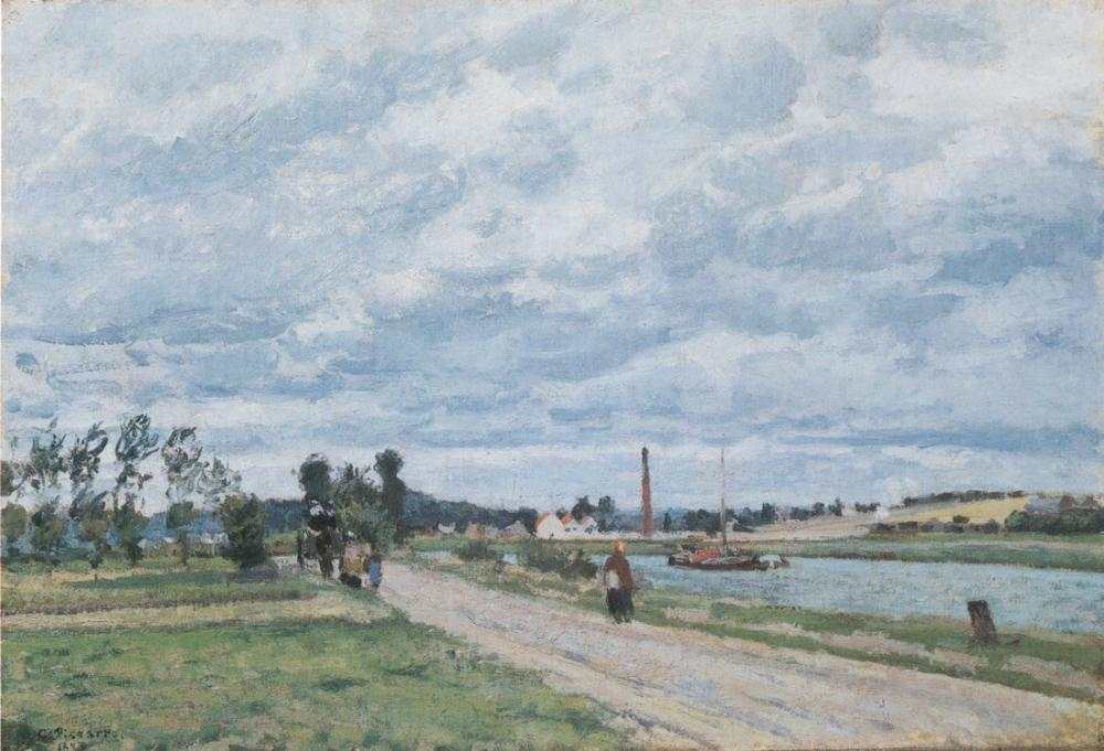 Camille Pissarro The Banks Of The Oise Near Pontoise, Canvas, Camille Pissarro, kanvas tablo, canvas print sales