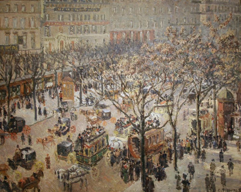 Camille Pissarro Bulvar İtalyan Sabahı Güneş Işığı, Kanvas Tablo, Camille Pissarro, kanvas tablo, canvas print sales