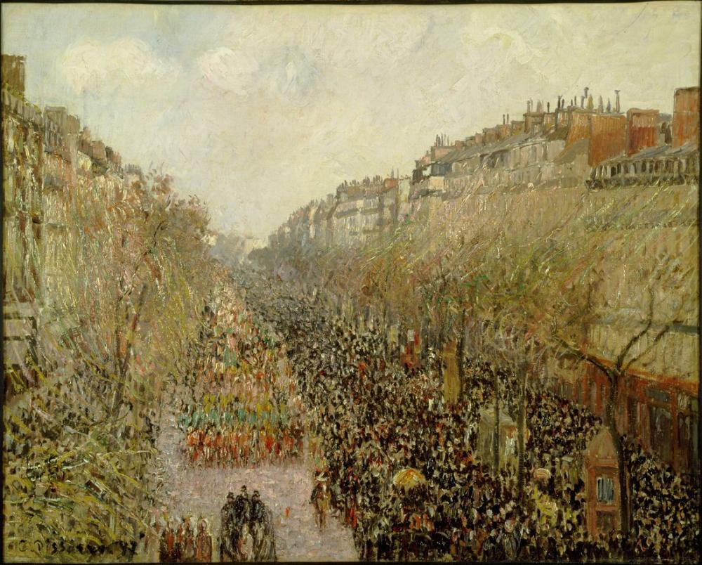 Camille Pissarro Montmartre Bulvarı Mardi Gras, Kanvas Tablo, Camille Pissarro