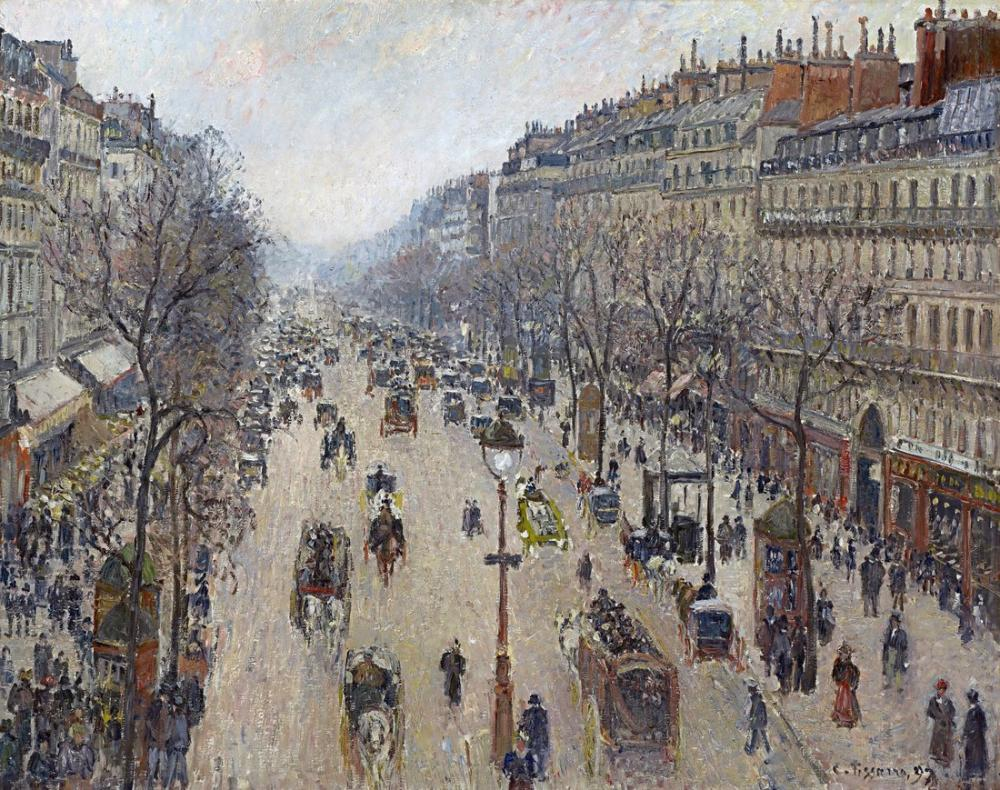 Camille Pissarro Montmartre Bulvarı Sabah Bulutlu Hava, Kanvas Tablo, Camille Pissarro