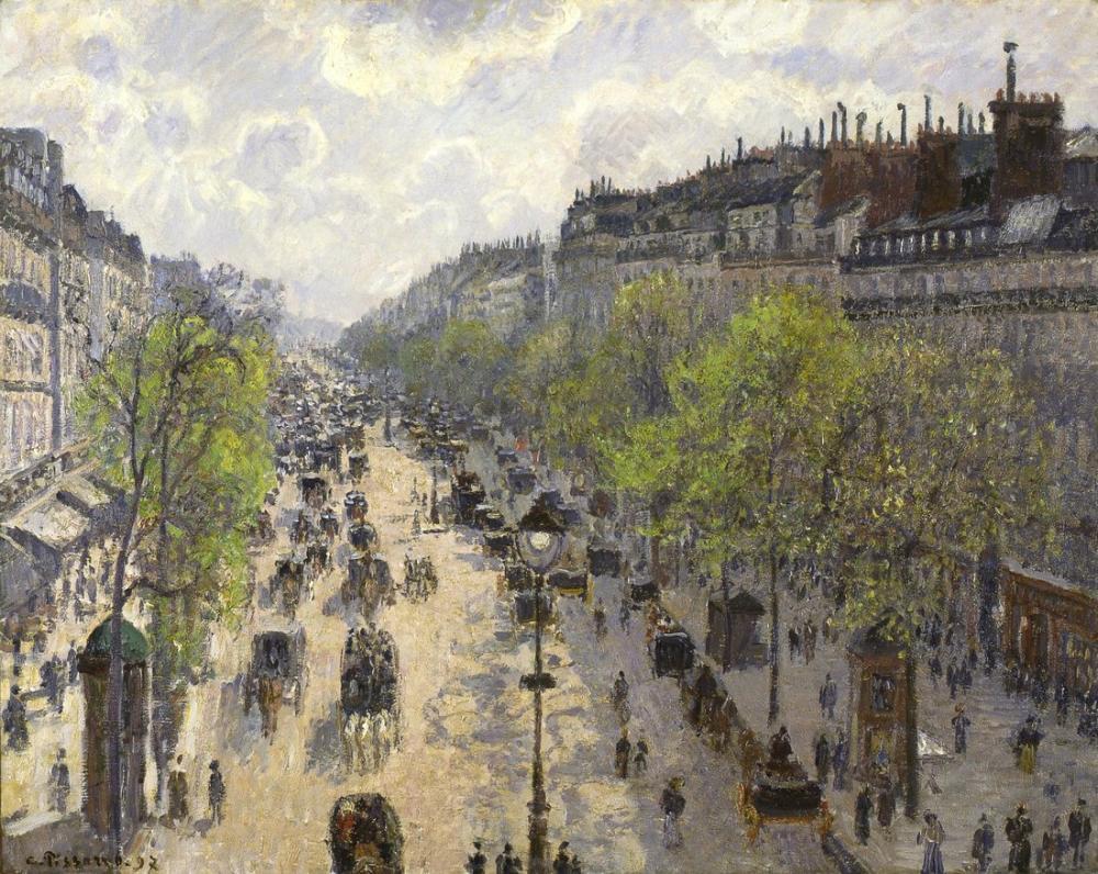 Camille Pissarro Montmartre Bulvarı Bahar Sabahı, Kanvas Tablo, Camille Pissarro, kanvas tablo, canvas print sales