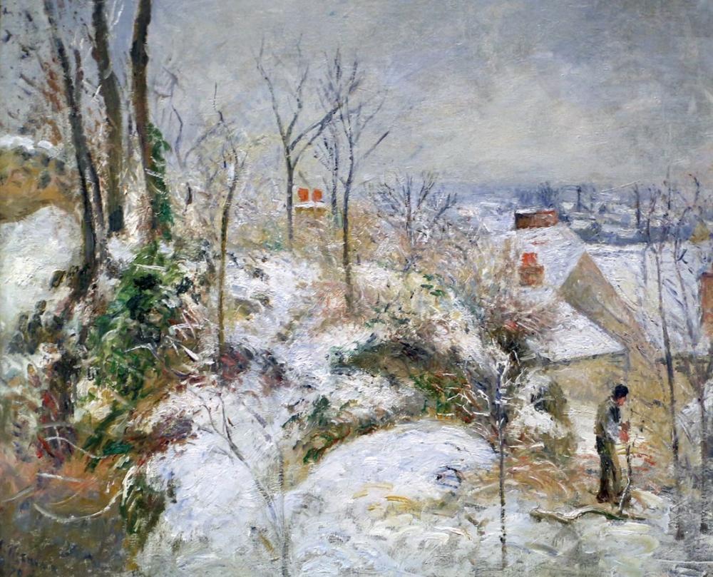 Camille Pissarro Catwalk To Pontoise Snow, Canvas, Camille Pissarro, kanvas tablo, canvas print sales