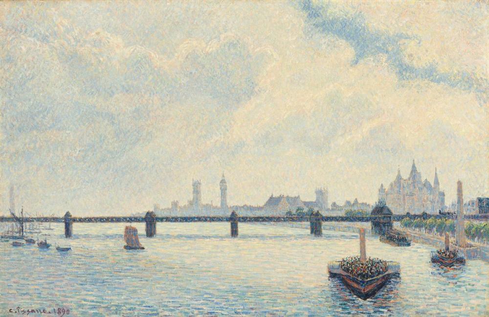Camille Pissarro Charing Cross Köprüsü Londra, Kanvas Tablo, Camille Pissarro