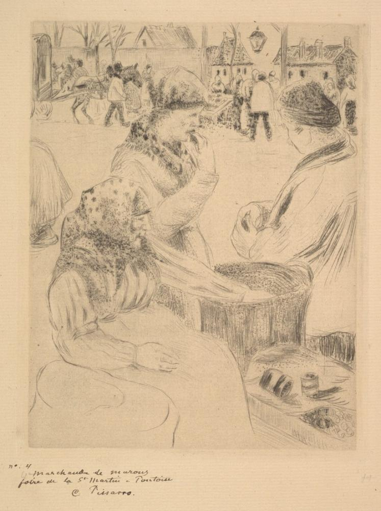 Camille Pissarro Kestane Satıcısı Saint Martins Market Pontoise, Kanvas Tablo, Camille Pissarro, kanvas tablo, canvas print sales