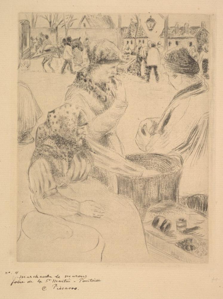 Camille Pissarro Kestane Satıcısı Saint Martins Market Pontoise, Kanvas Tablo, Camille Pissarro