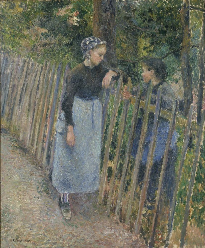 Camille Pissarro Conversation, Canvas, Camille Pissarro, kanvas tablo, canvas print sales