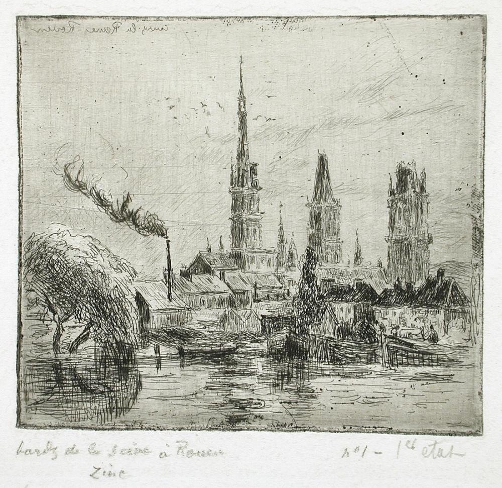 Camille Pissarro Cours La Reine Veya Seine Kıyılarında  Rouen, Kanvas Tablo, Camille Pissarro
