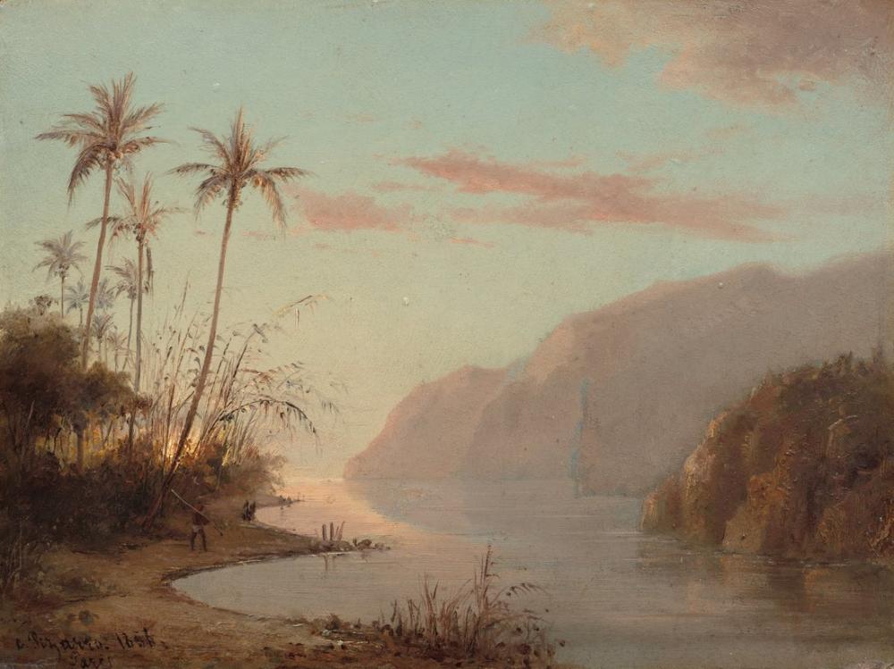 Camille Pissarro Palmiye Ağaçları İle Koy, Kanvas Tablo, Camille Pissarro, kanvas tablo, canvas print sales