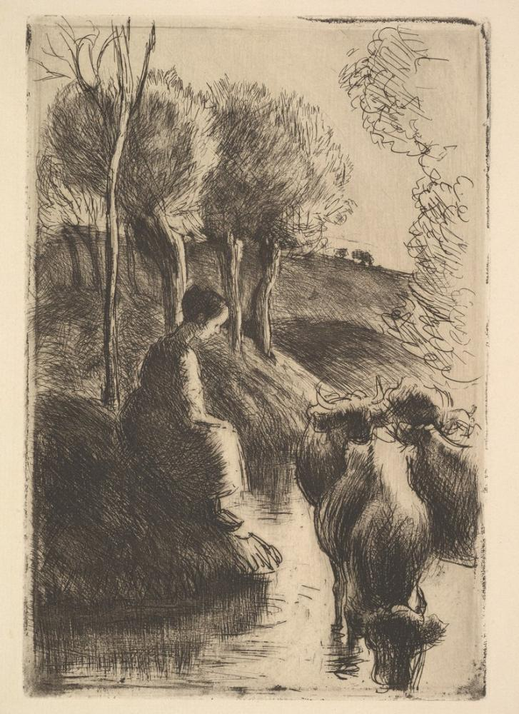 Camille Pissarro Cowherd At Waters Edge, Canvas, Camille Pissarro, kanvas tablo, canvas print sales