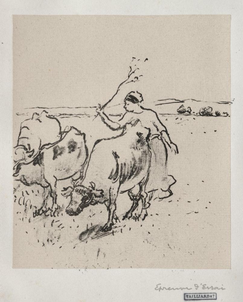 Camille Pissarro Cow Herder, Figure, Camille Pissarro, kanvas tablo, canvas print sales