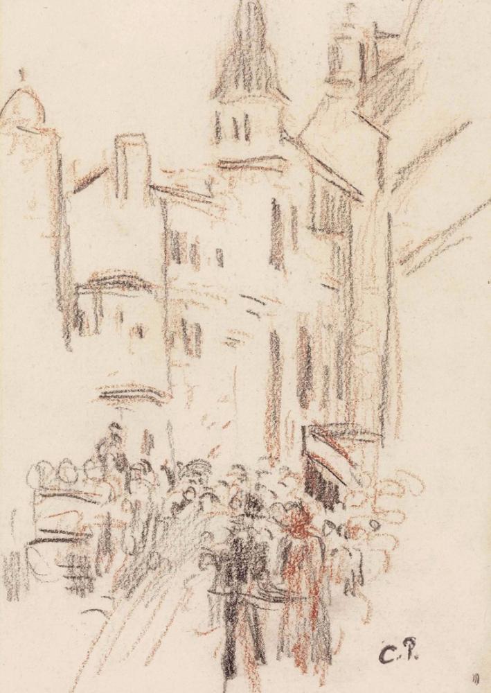 Camille Pissarro Sokakta Rouen, Kanvas Tablo, Camille Pissarro