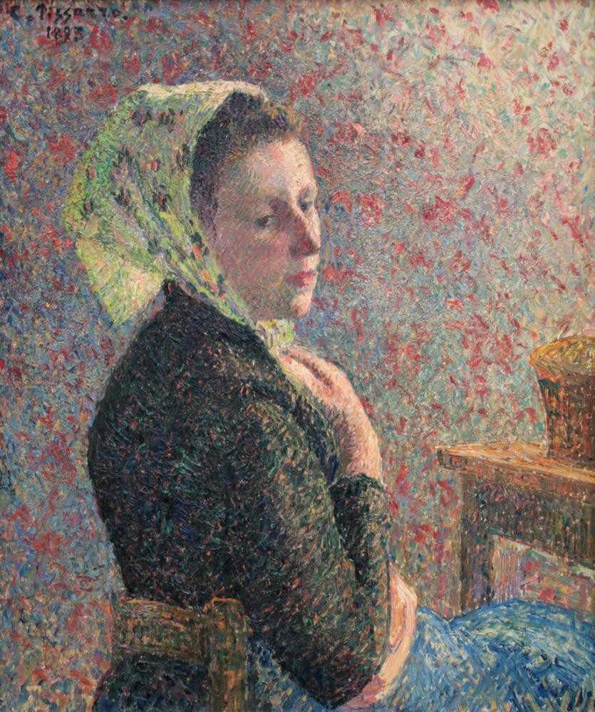 Camille Pissarro Yeşil Fularlı Kadın, Kanvas Tablo, Camille Pissarro