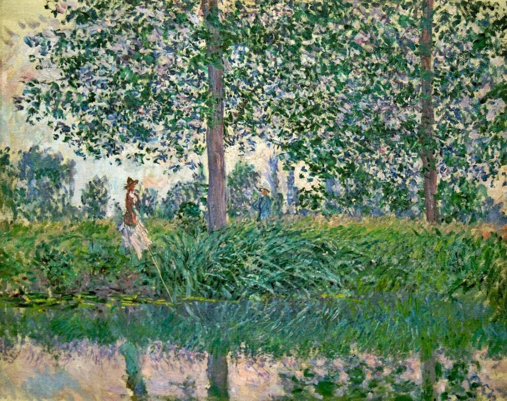 Camille Pissarro Akarsuda Balık Tutma, Kanvas Tablo, Camille Pissarro