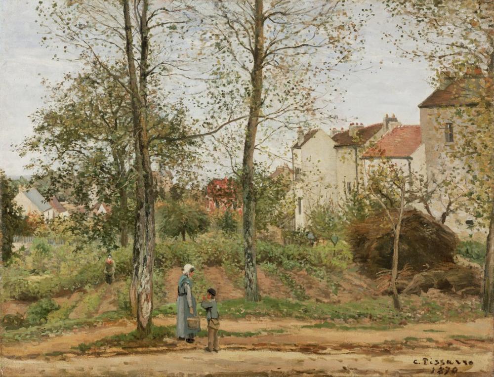 Camille Pissarro Bougival Sonbahar Fransız Evleri, Kanvas Tablo, Camille Pissarro, kanvas tablo, canvas print sales