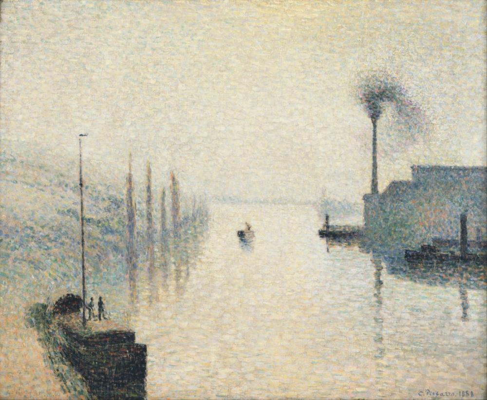 Camille Pissarro Fransız İle Lacroix Rouen Sisin Etkisi, Kanvas Tablo, Camille Pissarro