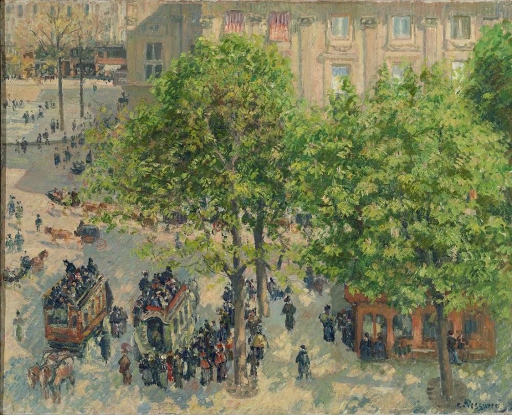 Camille Pissarro French Theater Square In Paris Spring, Canvas, Camille Pissarro, kanvas tablo, canvas print sales