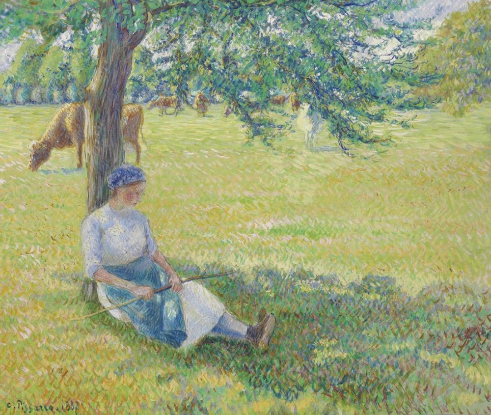 Camille Pissarro İnek Çobanı Eragny, Kanvas Tablo, Camille Pissarro